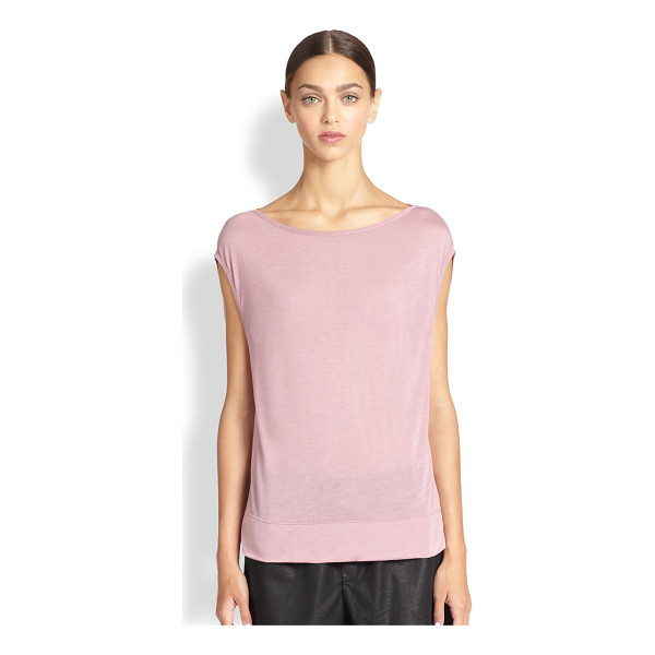 HELMUT LANG Slack jersey cap-sleeved top - Lightweight jersey knit is rendered in a relaxed, yet...