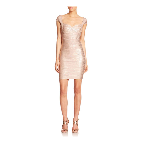 HERVE LEGER Cap-sleeve foil sheath - Dainty cap sleeves frame the bodice of this sophisticated...