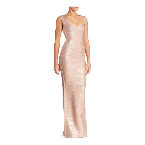 HERVE LEGER estrella sleeveless gown - Metallic bandage gown enhanced with a back cutout....