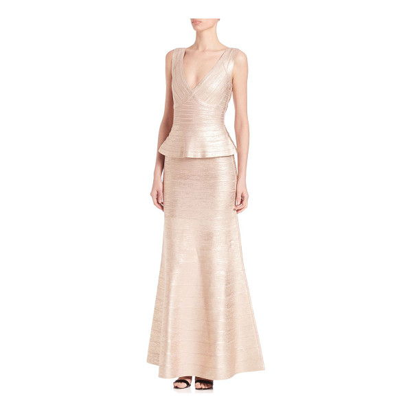 HERVE LEGER izabela foil peplum gown - Metallic bandage gown with flirty peplum waist.V-neck....