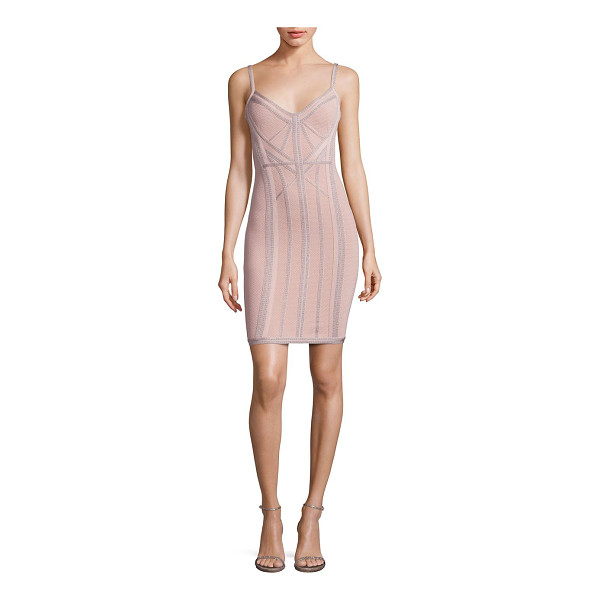 HERVE LEGER knit v-neck cocktail dress - Fitted knit cocktail dress with stylish topstitch...