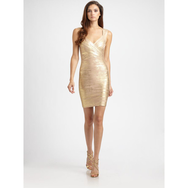 HERVE LEGER metallic bandage dress - Flattering crossover neckline and a glamorous metallic...