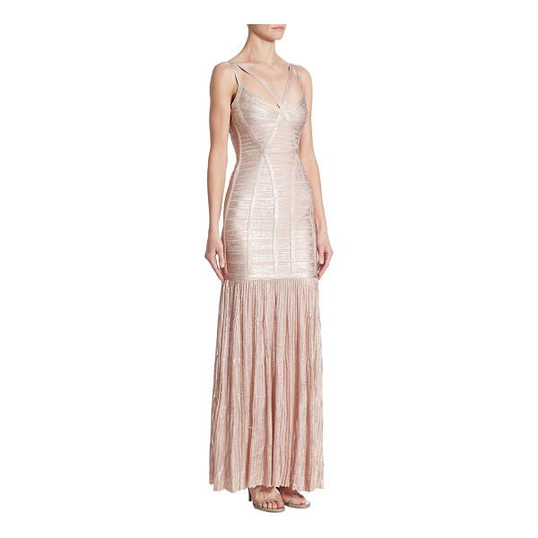 HERVE LEGER metallic evening gown - EXCLUSIVELY AT SAKS FIFTH AVENUE. Strappy metallic evening...