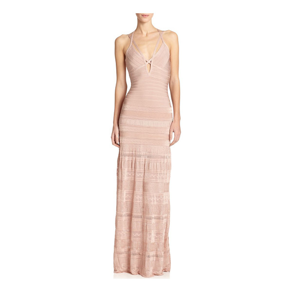 HERVE LEGER Mixed-media bandage gown - A body-skimming design with signature bandage construction,...