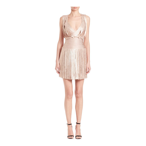 HERVE LEGER naomi fringe foil cocktail dress - Cocktail-ready silhouette with swingy fringe and metalilc...
