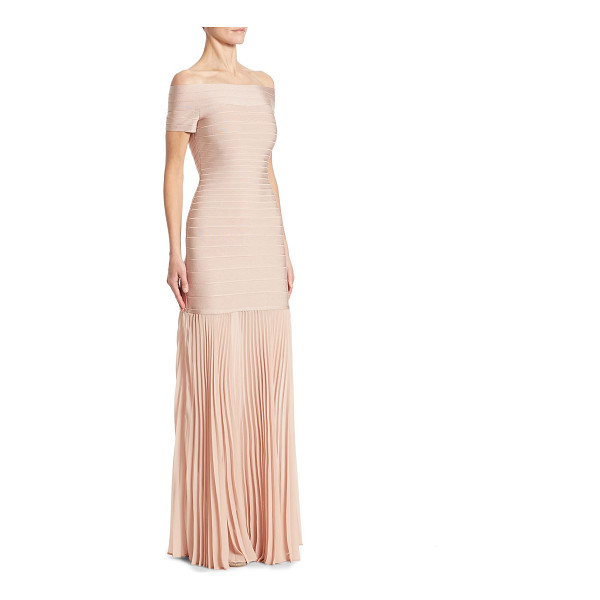 HERVE LEGER pleated bandage gown - Chic bandage gown with pleated chiffon hem....