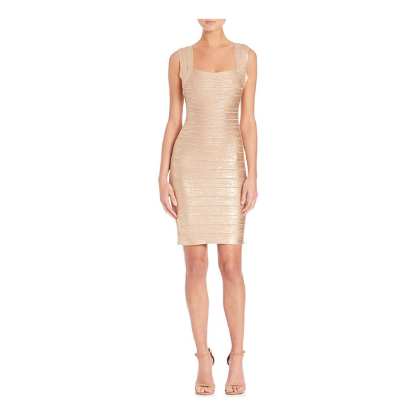 HERVE LEGER Sleeveless bandage dress - Iconic silhouette cast with metallic sheenSquare...