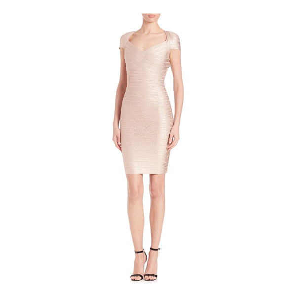 HERVE LEGER v-neck foil dress - Figure-hugging sheath in eye-catching metallic...