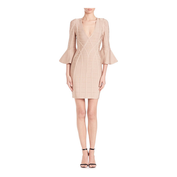 HERVE LEGER yasmine bell-sleeve dress - Bodycon dress finished with dramatic bell sleeves.V-neck....