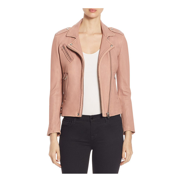 IRO han leather moto jacket - Distressed leather jacket with classic moto details. Notch...