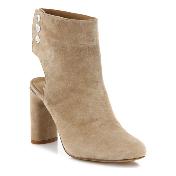 IRO.JEANS matyizi cutout suede block heel booties - Brushed suede block-heel pump with cutout heel.
