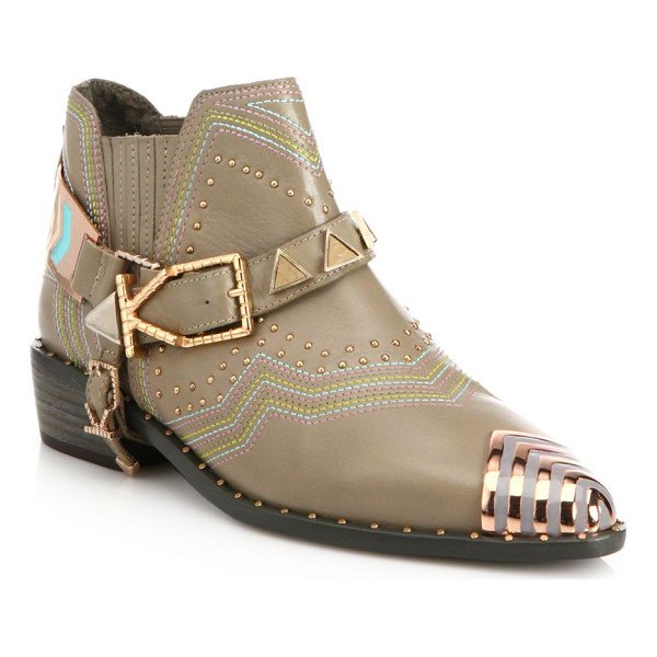 IVY KIRZHNER Sante fe leather cap-toe ankle boots - Chevron-tipped leather boot with embellished harnessStud...