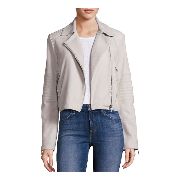J BRAND aiah suede jacket - Versatile jacket crafted from plush suede. Notched lapels....
