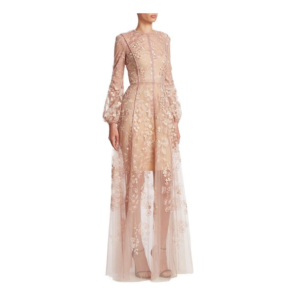 J. MENDEL floral embroidered gown - Semi-sheer gown with floral embroidery. Crewneck. Long...