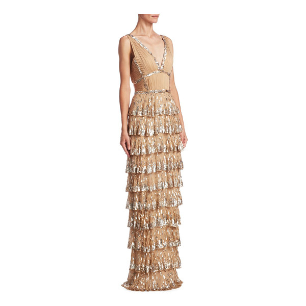 J. MENDEL sequin silk gown - Silk sequin embellished gown with tiered skirt. Deep...