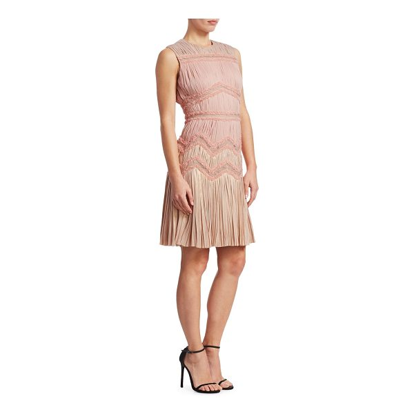 J. MENDEL sleeveless multi-pleated sheath dress - Pleats and ruffles adorn dress. Crewneck. Sleeveless....