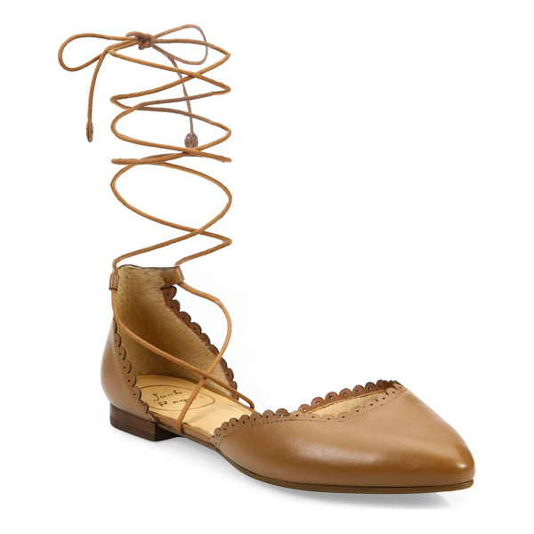 JACK ROGERS camille leather lace-up flats - Scalloped leather d'Orsay flat with wraparound laces.