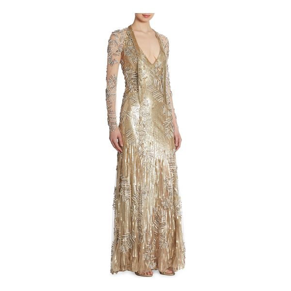 JENNY PACKHAM sequin beaded gown - Sequin embellished gown with gorgeous beading.V-neck. Long...