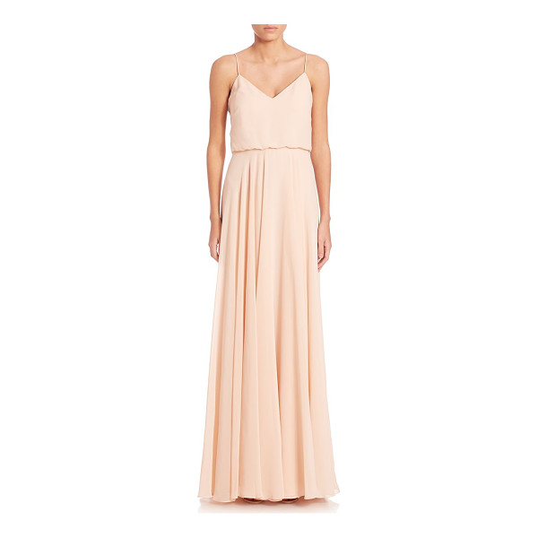 JENNY YOO inesse chiffon gown - Blouson gown in flowing airy chiffon.V-neck. Spaghetti...