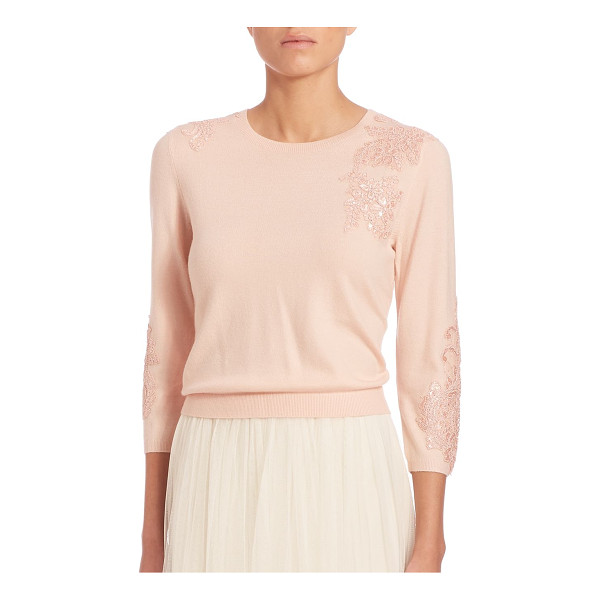 JENNY YOO paisley embellished sweater - Feminine sweater with delicate lace appliques. Crewneck....