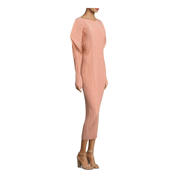 JIL SANDER silk pleated dress - Puffed shoulders enliven this silk pleated dress. Boatneck....