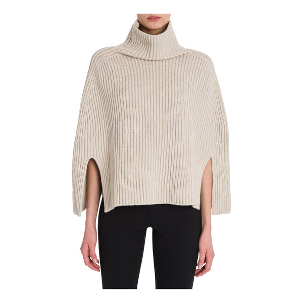 JIL SANDER wool & cashmere cape sweater - Luxe cape sweater in wool and cashmere blend. Mockneck....