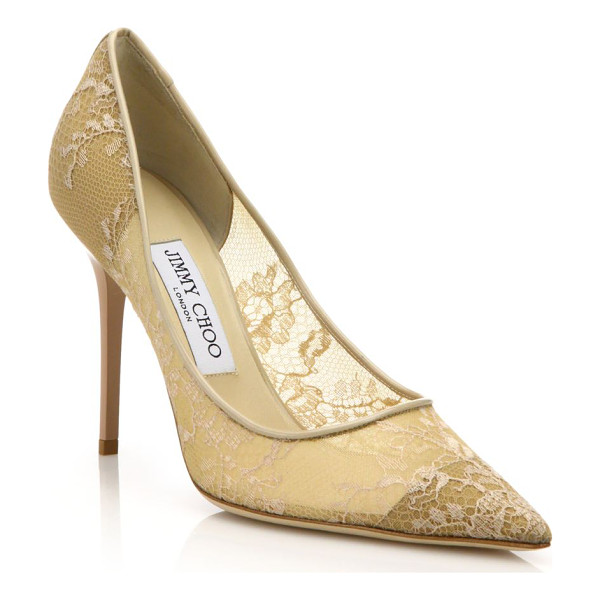 JIMMY CHOO Abel lace point-toe pumps - Embroidered lace envelops these classic point-toe pumps in...