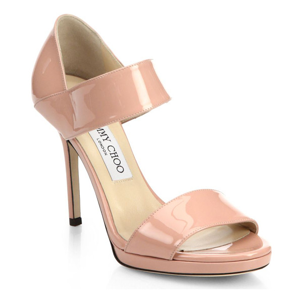JIMMY CHOO Alana patent leather wide-strap sandals - These strappy patent leather sandals with a stiletto heel...