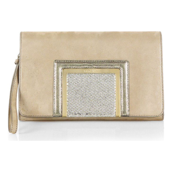 JIMMY CHOO Alara shimmer mixed-media clutch - Infuse your party portfolio with a touch of drama courtesy...