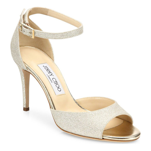 JIMMY CHOO annie 85 glitter d'orsay ankle-strap sandals - Glamorous glitter d'Orsay sandal with femme ankle strap.