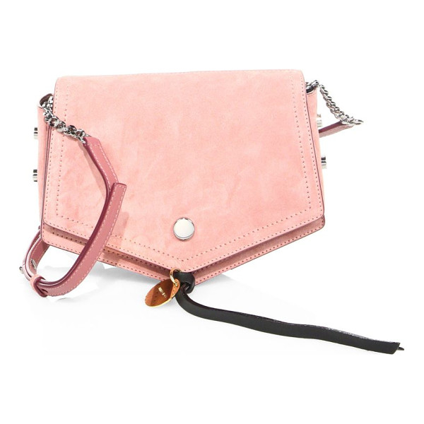 JIMMY CHOO arrow studded suede crossbody bag - Softly pointed suede shape with polished side studs.