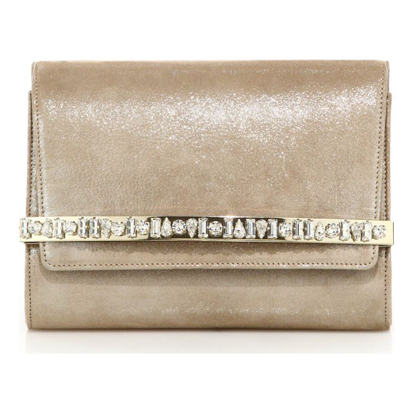 JIMMY CHOO bow crystal-embellished shimmer suede clutch - Shimmering suede clutch with lustrous crystal...