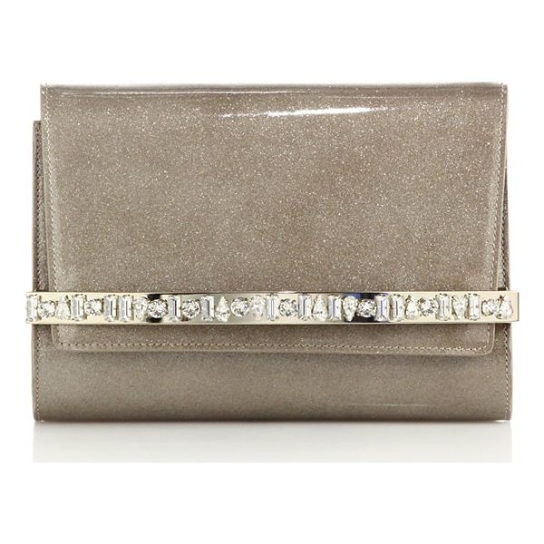 JIMMY CHOO bow glittered & embellished patent leather clutch - Lustrous leather design with faceted crystal detail. Snap...