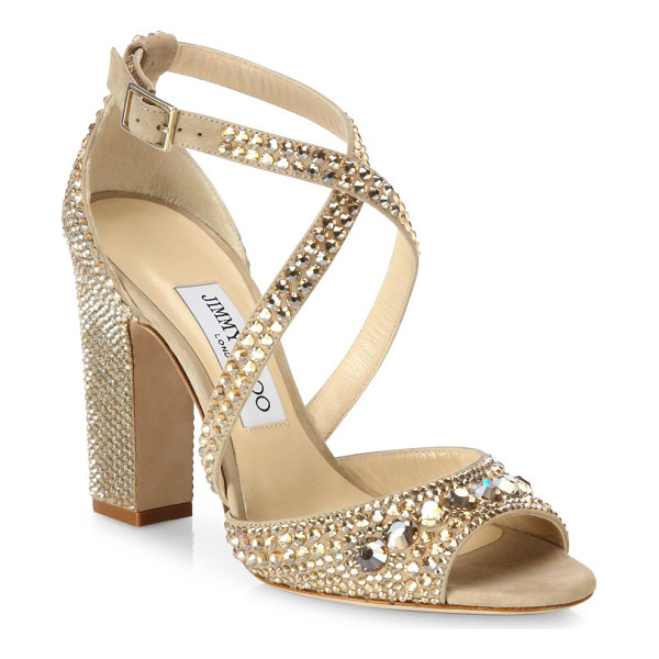 JIMMY CHOO carrie 100 crystal-embellished suede block heel sandals - EXCLUSIVELY AT SAKS FIFTH AVENUE. Glam crystal-embellished
