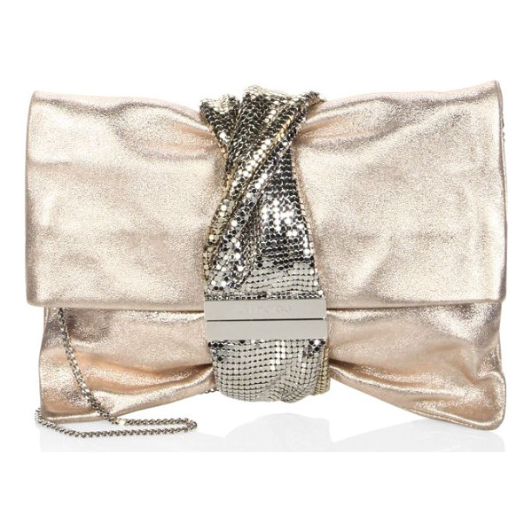JIMMY CHOO chandra metallic ballet clutch - Ballet clutch wrapped with metallic mesh band. Removable