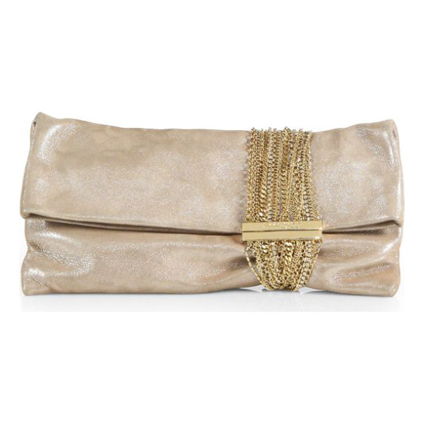 JIMMY CHOO chandra shimmer suede chain clutch - A myriad of chains in various shapes and sizes adorn this...