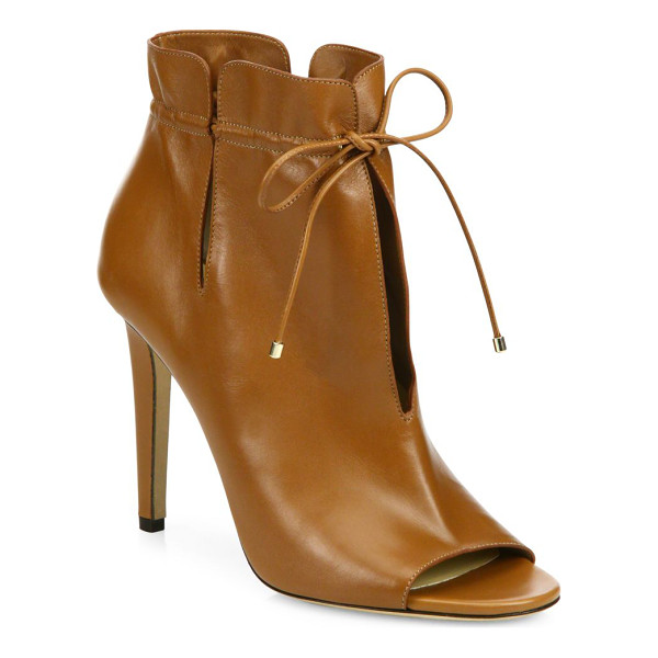 JIMMY CHOO memphis 100 cinched leather peep-toe booties - Slit leather peep-toe booties cinched at the ankle....