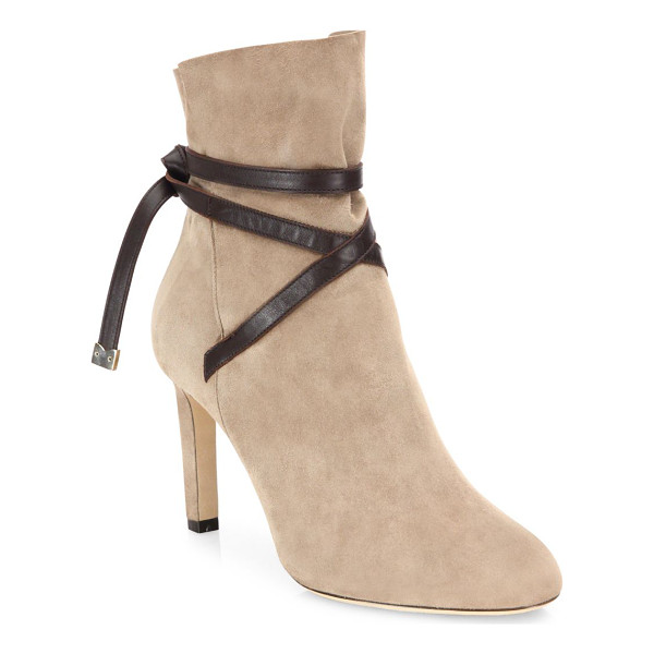 JIMMY CHOO dalal 85 suede & leather booties - Luxe cashmere suede bootie secured with leather strap.