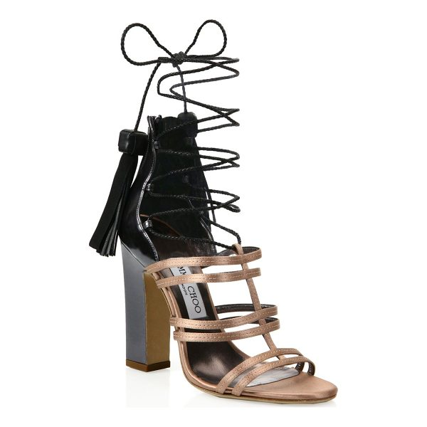 JIMMY CHOO diamond tassel lace-up sandals - Two-tone cage sandal with slim braided tasseled ties....