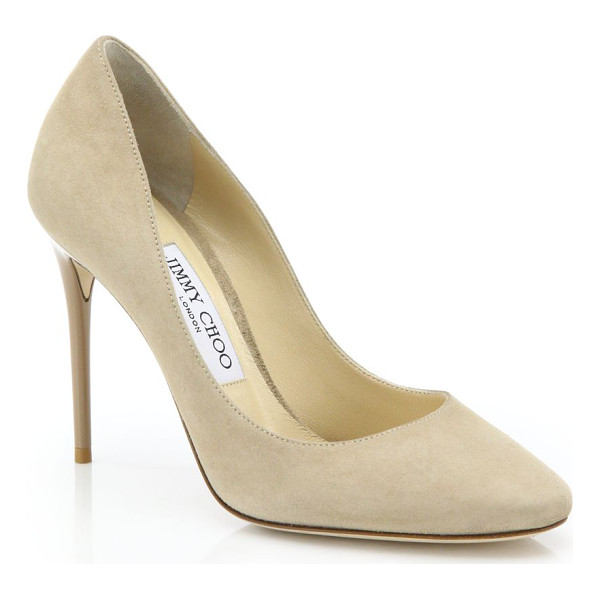 JIMMY CHOO esme 100 suede pumps - Sumptuous suede pump with classic round toe. Self-covered...