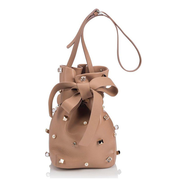 JIMMY CHOO Eve studded leather bucket bag - Designed in a slim silhouette, this sleek leather bucket...