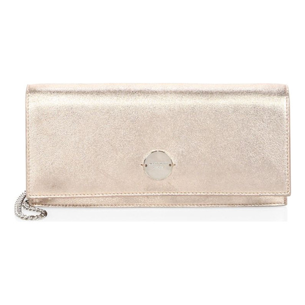 JIMMY CHOO fie metallic leather chain clutch - Fold-over metallic clutch with logo-engraved clasp.