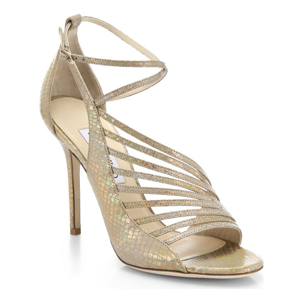 JIMMY CHOO Florry holograph snakeskin-embossed leather asymmetrical strappy sandals - A holographic finish ensures that these strappy,...