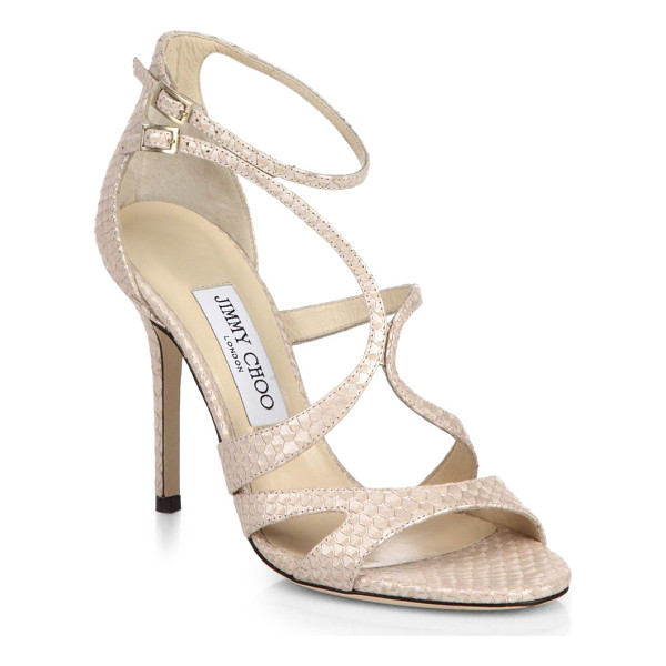 JIMMY CHOO Furrow snake-embossed leather sandals - Gracefully curved straps create a sculptural look in a sexy...