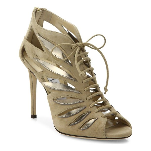 JIMMY CHOO keena 100 cutout suede lace-up sandals - Cutout suede lace-up sandal with metallic winged appliques....