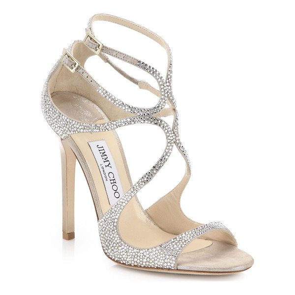 JIMMY CHOO lang memento 100 strappy crystal & suede sandals - EXCLUSIVELY AT SAKS FIFTH AVENUE. Alluring loop-strapped...
