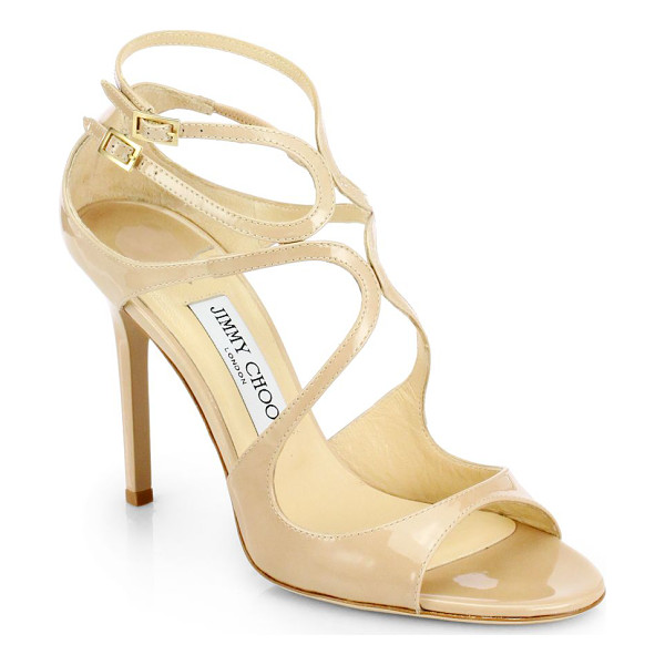 JIMMY CHOO lang 100 strappy patent leather sandals - Coveted Jimmy Choo silhouette in lustrous Italian patent...