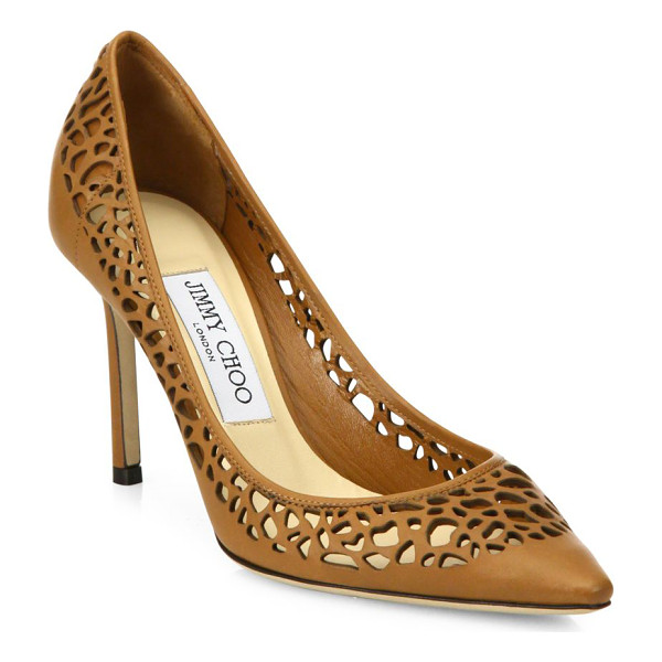 JIMMY CHOO romy 85 laser-cut leather point toe pumps - Timeless point-toe silhouette in laser-cut leather. Update...