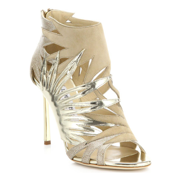JIMMY CHOO Lissy cutout glitter suede & metallic leather sandal - Glam glittery sandal of metallic leather and suede....