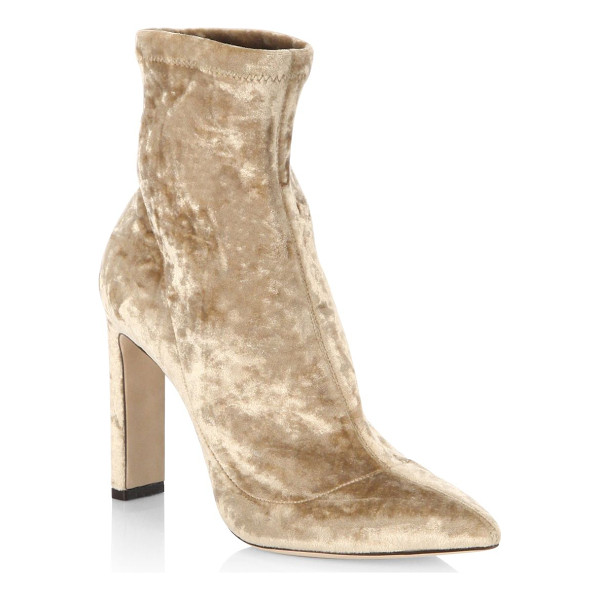 JIMMY CHOO louella 85 crushed stretch velvet point toe booties - EXCLUSIVELY AT SAKS FIFTH AVENUE. Crushed velvet point toe...